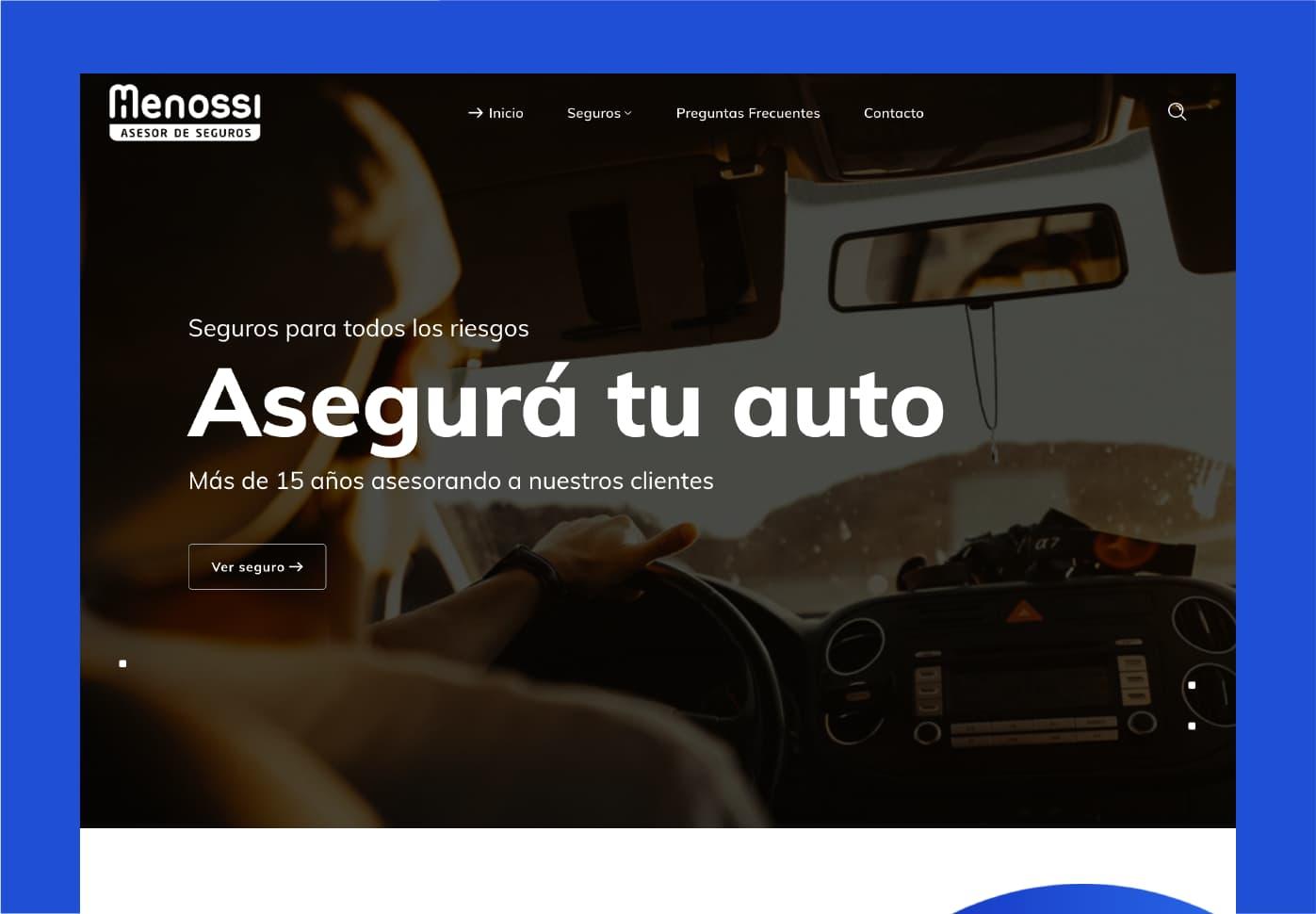 Seguros Menossi: un sitio web institucional