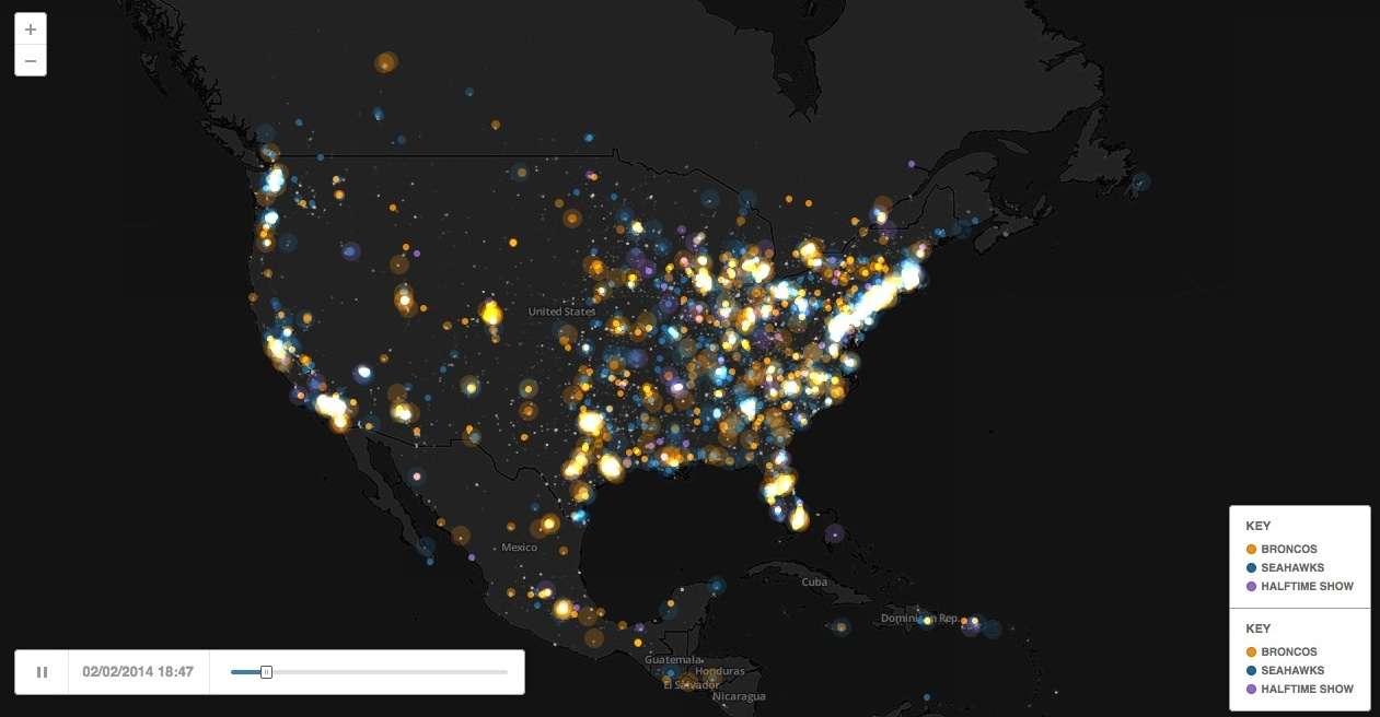 Visualización de datos en base a Twitter del Superbowl 2014. Es la muestra de cómo se pueden mostrar más de 1 millones de tweets en un mapa animado.
