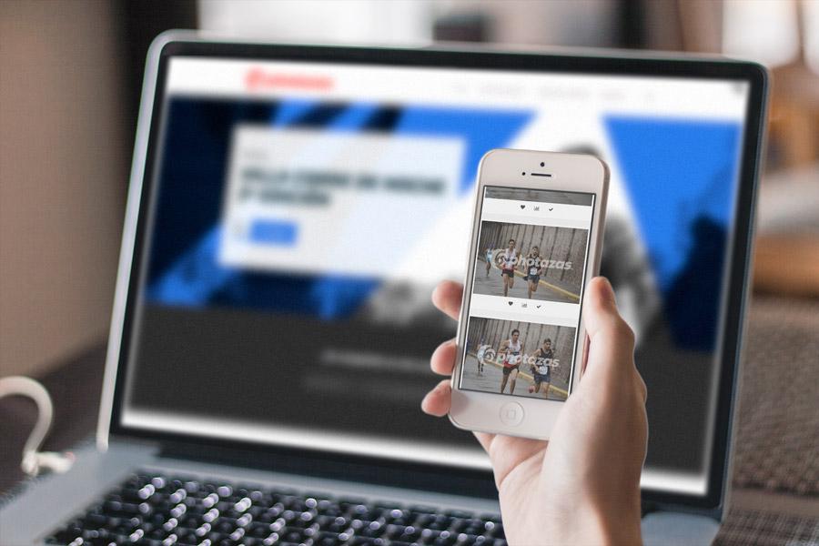 Sitio web de Photazas visto desde un smartphone